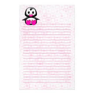 Cute Pink Penguin Customized Stationery