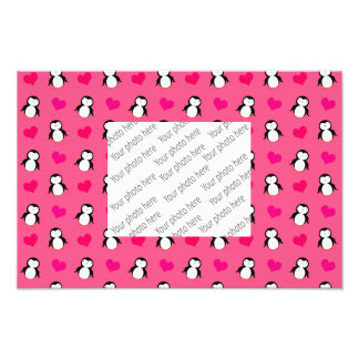 Cute pink penguin hearts pattern art photo