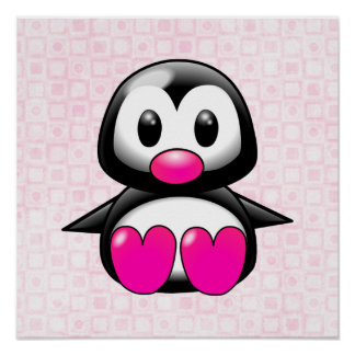Cute Pink Penguin Poster