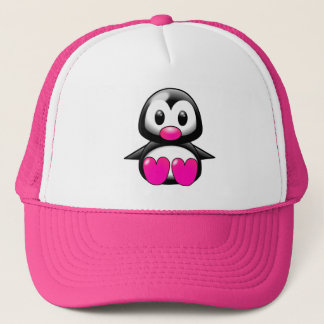 Cute Pink Penguin Trucker Hat