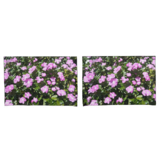 Cute Pink Periwinkle Flowers Print Pillow Cases