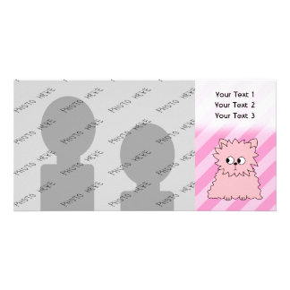 Cute Pink Persian Cat. Pink Striped Background. Card