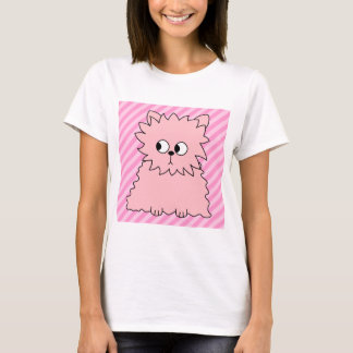 Cute Pink Persian Cat. Pink Striped Background. T-Shirt