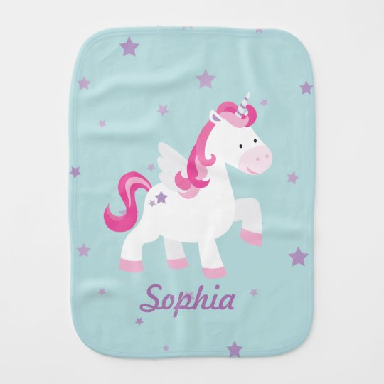 Cute Pink Personalised Magical Unicorn Burp Cloth