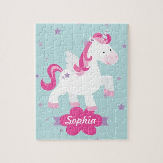 Cute Pink Personalised Magical Unicorn Puzzle