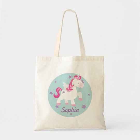 Cute Pink Personalised Magical Unicorn Tote Bag