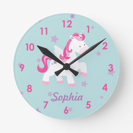 Cute Pink Personalised Magical Unicorn Wall Clock