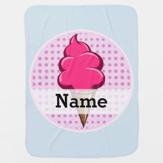 Cute pink personalized ice cream for girls baby blanket