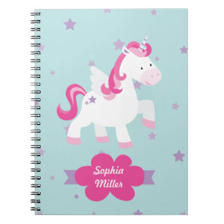 Cute Pink Personalized Magical Unicorn Notebook
