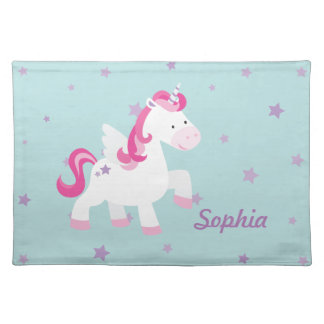 Cute Pink Personalized Magical Unicorn Placemat