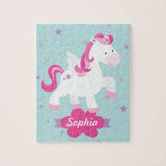 Cute Pink Personalized Magical Unicorn Puzzle