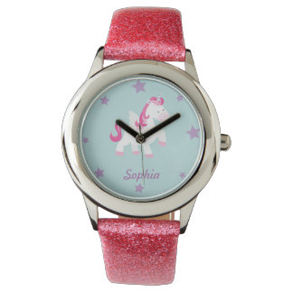 Cute Pink Personalized Magical Unicorn Watch