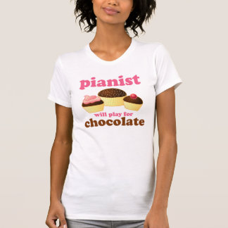 Cute Pink Piano Womens Tee Shirt