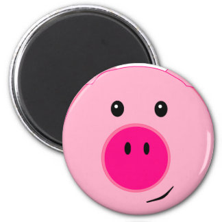 Cute Pink Pig 6 Cm Round Magnet