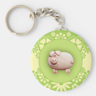 Cute Pink Pig Basic Round Button Key Ring