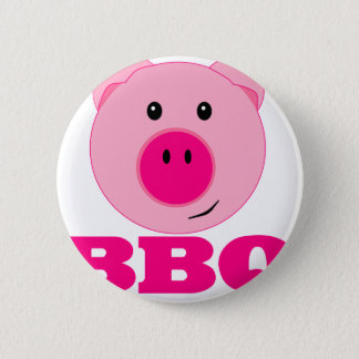 Cute Pink Pig BBQ 6 Cm Round Badge