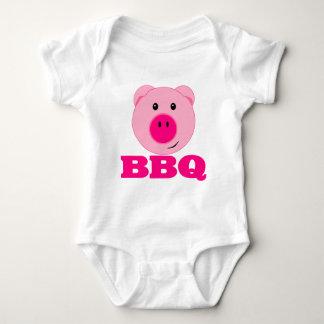 Cute Pink Pig BBQ Baby Bodysuit