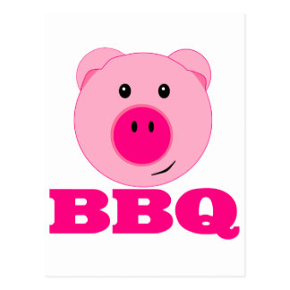 Cute Pink Pig BBQ Postcard