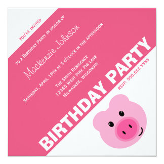 Cute Pink Pig Birthday Party Invitation