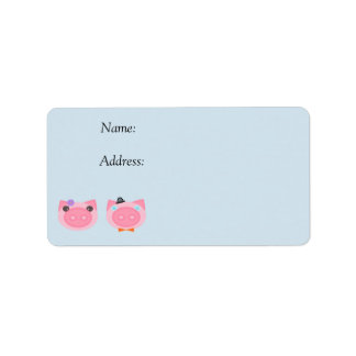 Cute pink pig boy and girl address labels