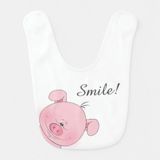 Cute Pink Pig Cartoon Baby Bib
