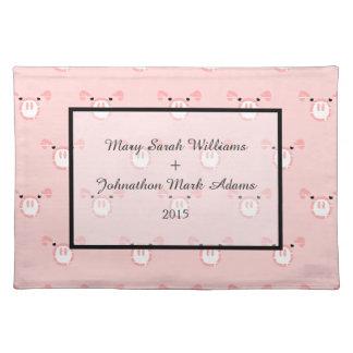 Cute Pink Pig Face Pattern Fun Wedding Keepsake Placemat