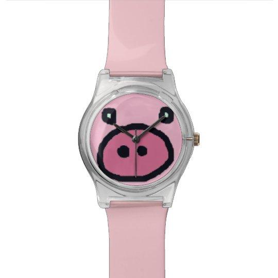 cute pink pig face watch