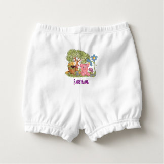 Cute Pink Pig Gardening Flowers Personalized Nappy Cover