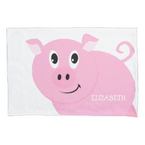 Cute Pink Pig Kids Personalised Piggy Pattern Pillowcase