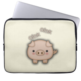 Cute Pink Pig Oink Laptop Computer Sleeves