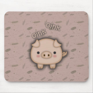 Cute Pink Pig Oink Pink Background Mouse Pad