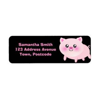 Cute Pink Pig on Black