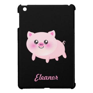 Cute Pink Pig on Black iPad Mini Case