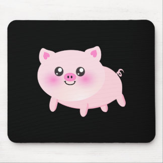 Cute Pink Pig on Black Mouse Pads