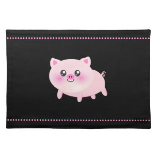Cute Pink Pig on Black Place Mats