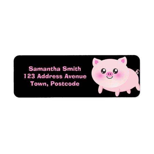 Cute Pink Pig on Black Return Address Label