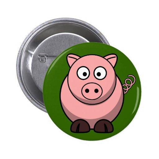 Cute Pink Pig On Green Grass Button Pin