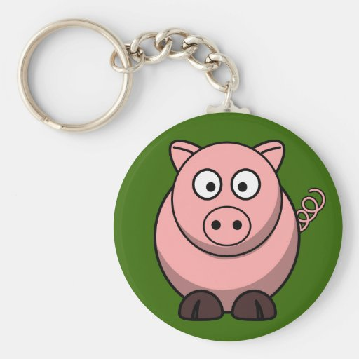 Cute Pink Pig On Green Grass Button Pin Keychains