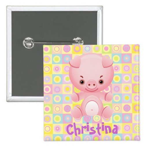 Cute Pink Pig Party name button  badge