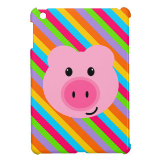 Cute Pink Pig Rainbow Stripes iPad Mini Case