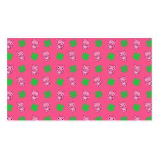 Cute pink pig shamrocks pattern business card