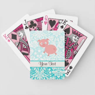 Cute Pink Pig; Teal Damask Bicycle Playing Cards