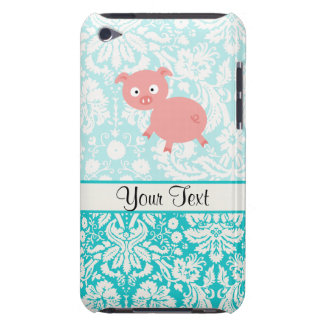 Cute Pink Pig; Teal Damask iPod Touch Case-Mate Case