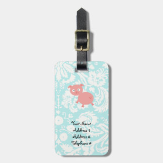 Cute Pink Pig; Teal Damask Luggage Tag