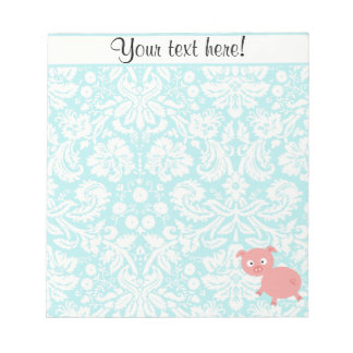 Cute Pink Pig; Teal Damask Notepad