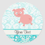 Cute Pink Pig; Teal Damask Round Stickers