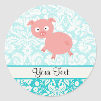 Cute Pink Pig Teal Damask Stickers