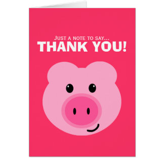 Cute Pink Pig Thank You Note Card