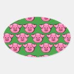 Cute Pink Piggies Oval Stickers