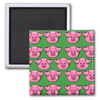 Cute Pink Piggies Square Magnet
